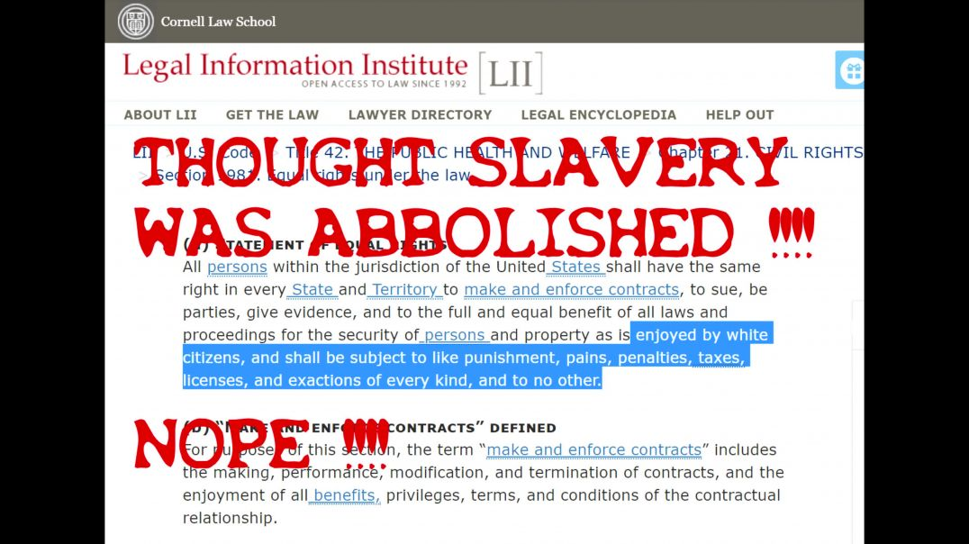 42 USC 1981 YOU ARE SLAVES EQUALLY  #OBEY #SLAVERY  #RIGHTS
