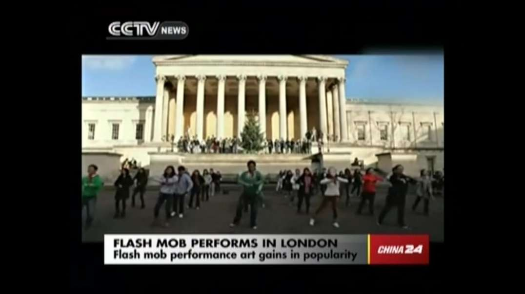 Flash mob of Chinese students perform school exercises in London
