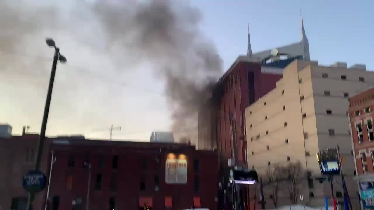 Police have told us the explosion this morning is linked to a vehicle. It happened outside in Downtown Nashville. Video from a witness on scene.