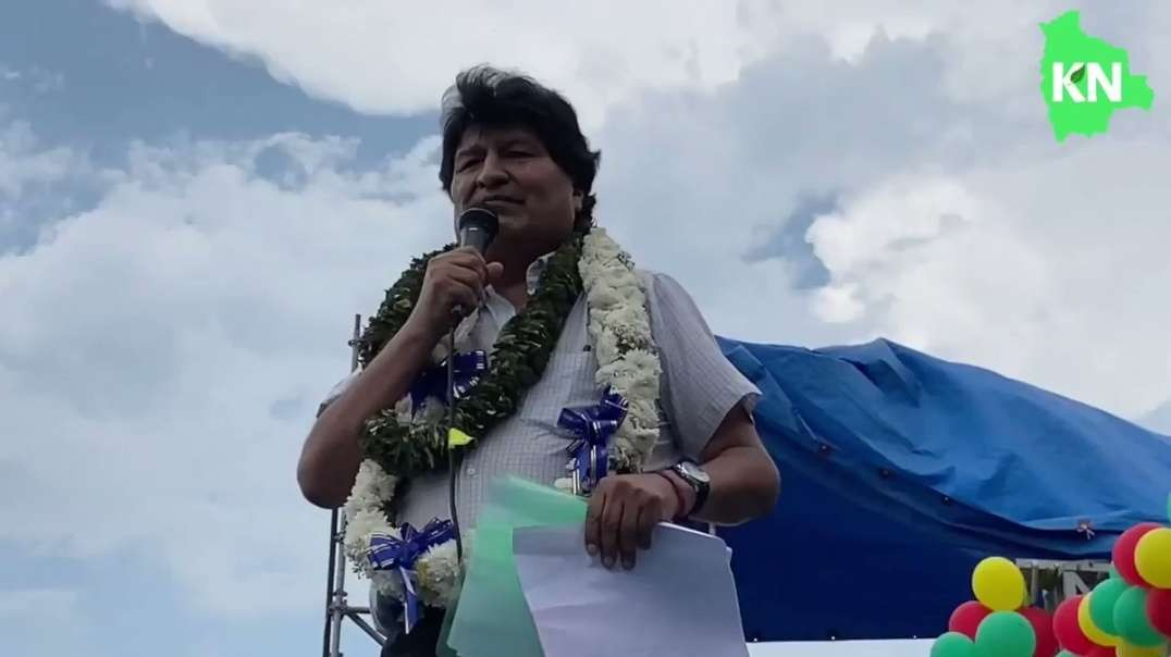 "Evo Morales reads Elon Musk's tweet before a crowd of thousands, ""We will coup whoever we want! Deal with it."""