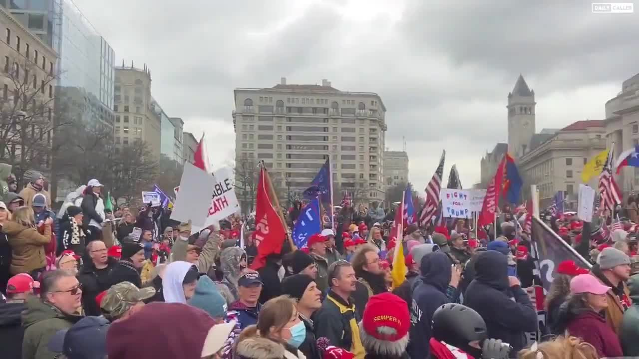 """Large crowd gathering at Freedom Plaza chanting """"USA"""" ahead of tomorrow's #MarchForTrump"""