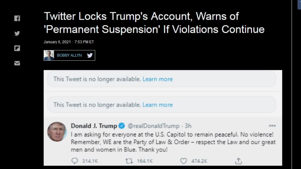 Trump SUSPENDED on Twitter and Facebook, Cops Shoot and Kill 14 Year Veteran, End of America
