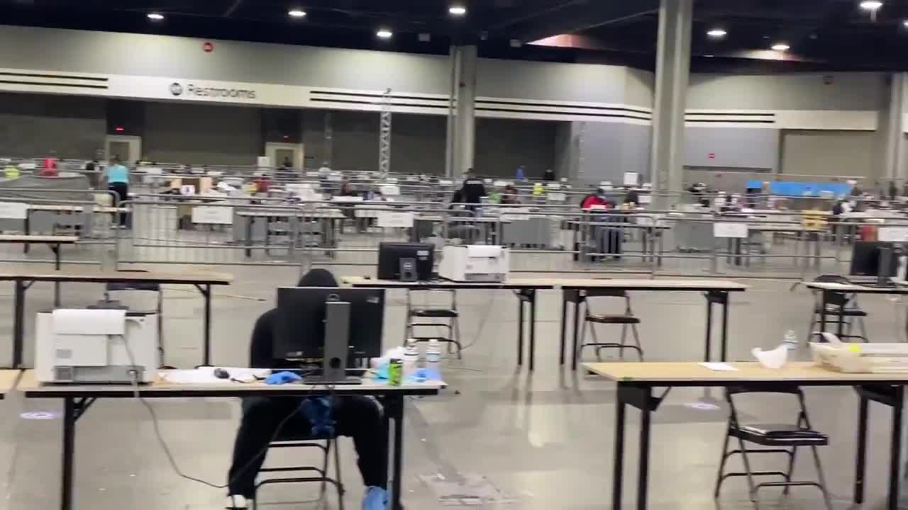 FULTON COUNTY: Georgia World Congress Center. Screens all facing away from media pen. No observers. No dual control. Single individuals scanning ballots into dominion while kept from public view.