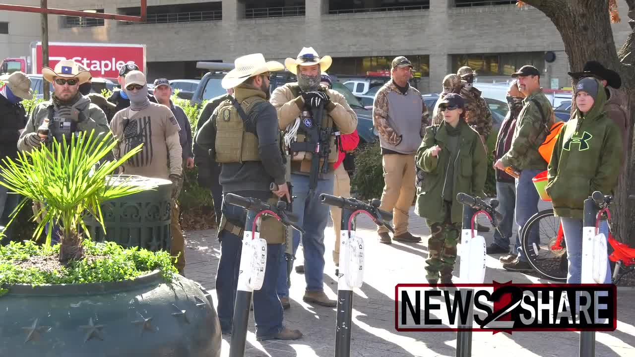 Armed militiamen protest in front of TX capitol in Austin following US Capitol Insurgency