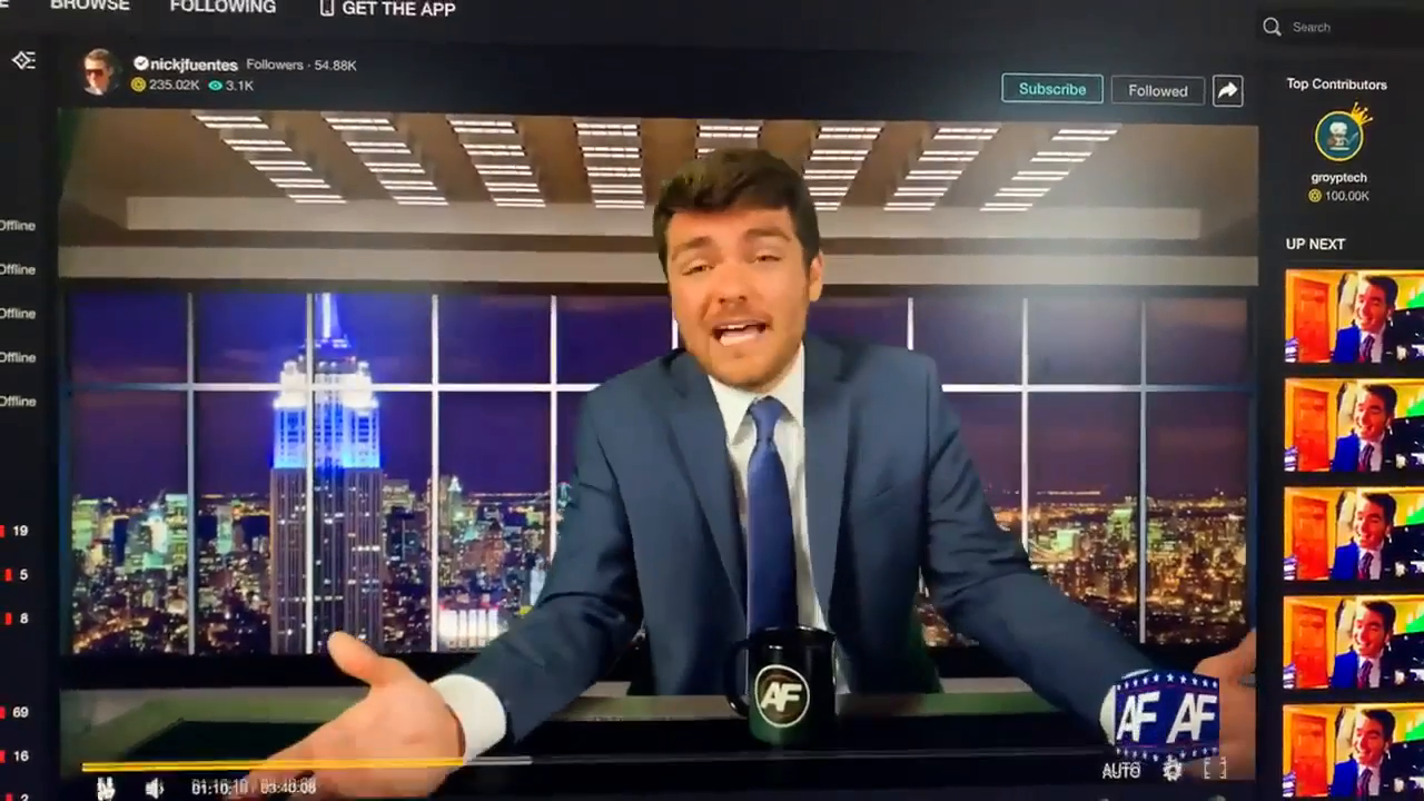 "ADL on suicide watch... ""White supremacist and Trump apologist Nick Fuentes encourages his viewers to kill legislators in his stream last night on DLive, earning $2800 for his effort. Dlive should be held to account for promoting and monetizing this violent rhetoric."""