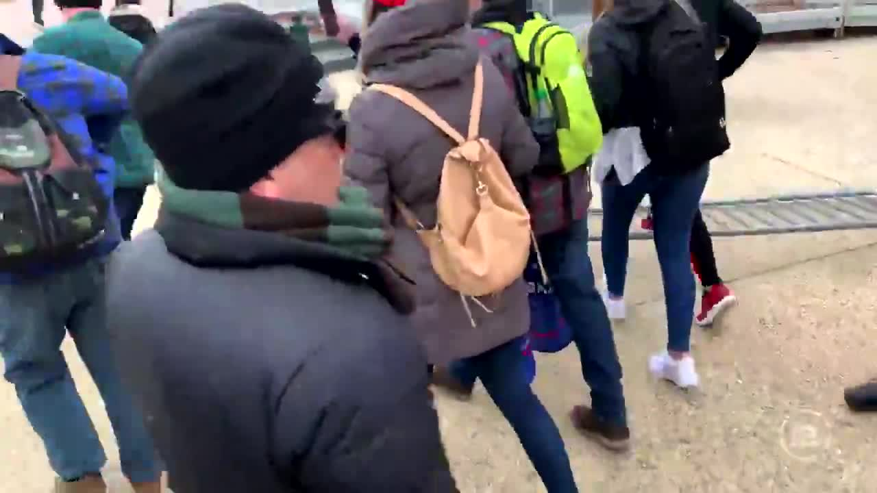 """Footage of the first encounter between the """"insurrectionist mob"""" [peaceful protesters] and the police guarding the Capitol perimeter, epic!"""