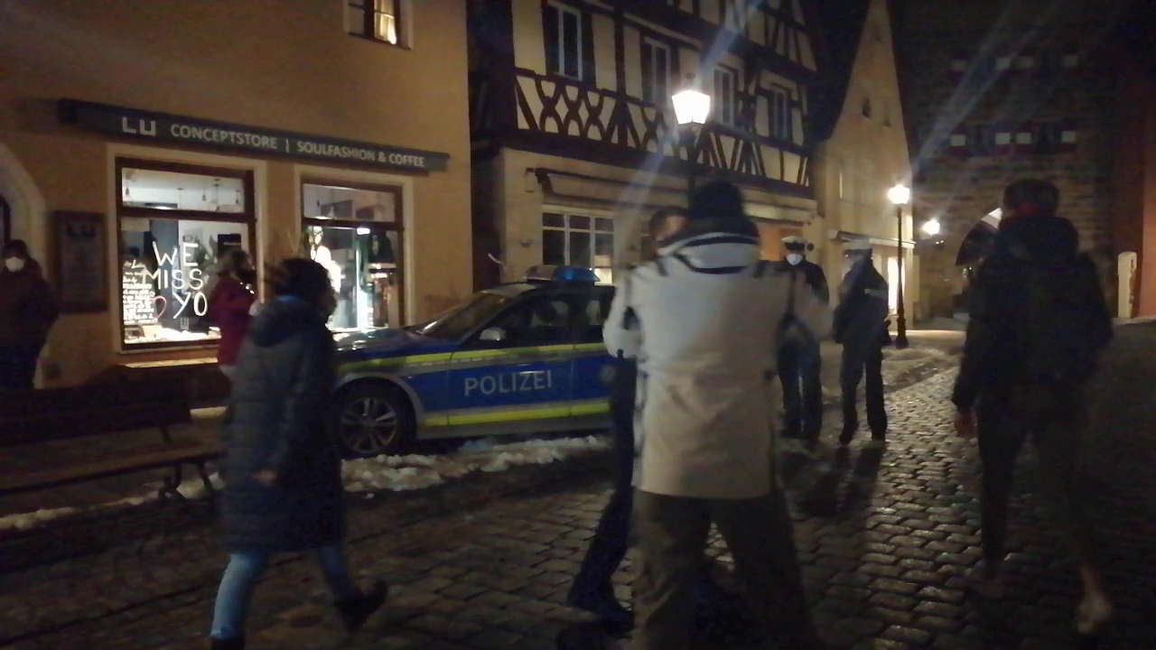 "Earlier tonight in Lauf an der Pegnitz/Nuremberg ,a small group of people protesting the lockdown gets attacked violently by the zog police , you can hear the people shouting ""no violence""  and ""help"" but this dirty bastards are inhuman , this is Germany 2021"
