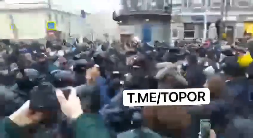 Navalny supporters fighting the police in Moscow