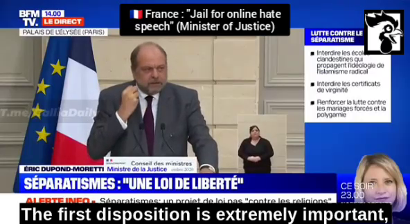 French Justice Minister Dupont-Moretti announced a change in French law to combat online hate speech