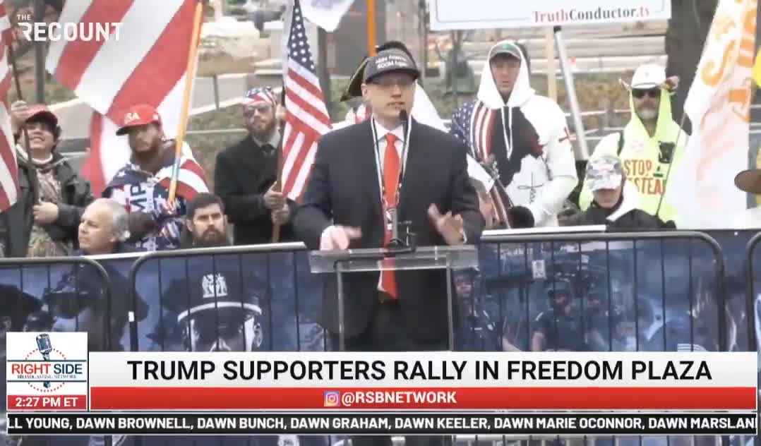 """Speaker at pro-Trump rally in Washington, D.C.: """"Turn to the person next to you and give them a hug, someone you don't know. ... It's a mass spreader event!"""""""