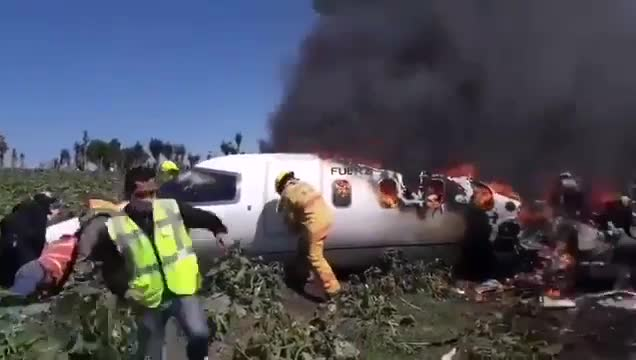 Mexican Air Force plane burst into flames killing all six people on board