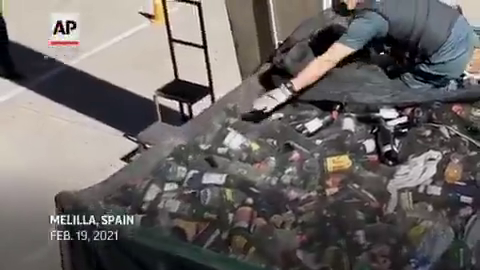 Clown World - Spanish Police discovered migrants hidden in recycling containers