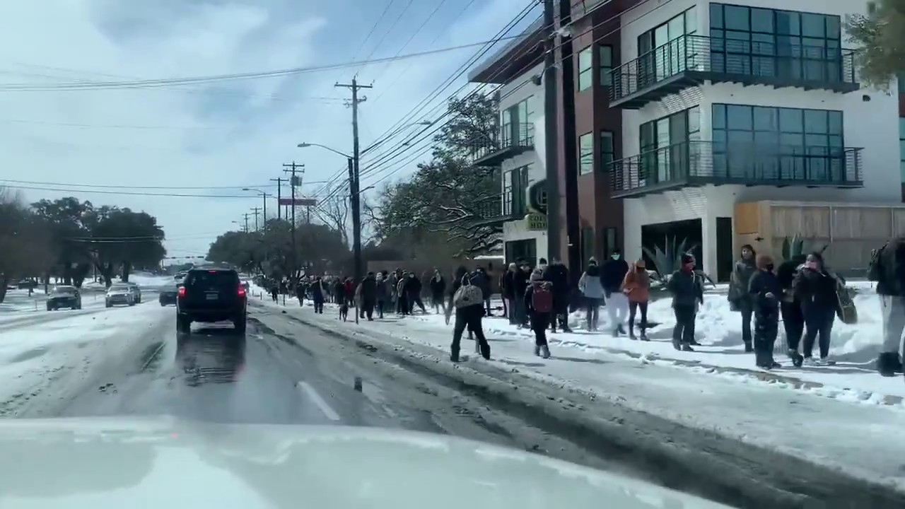 Queuing for food today in Austin, Texas, no petrol available, Millions still without power, homes are flooded with burst pipes