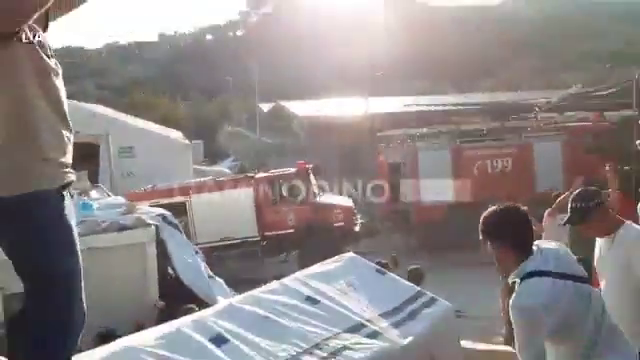 Invaders threw rocks on the Fire Department trucks, that attempted to put the fire down in Moria camp Lesvos, Greece