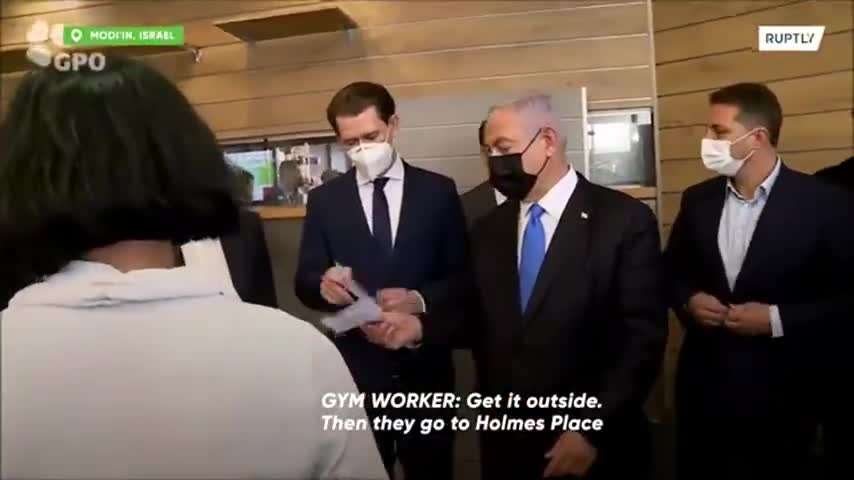 Jew Rat - Netanyahu showcases Green Pass system to Austria's Kurz and Danish PM at Modiin gym
