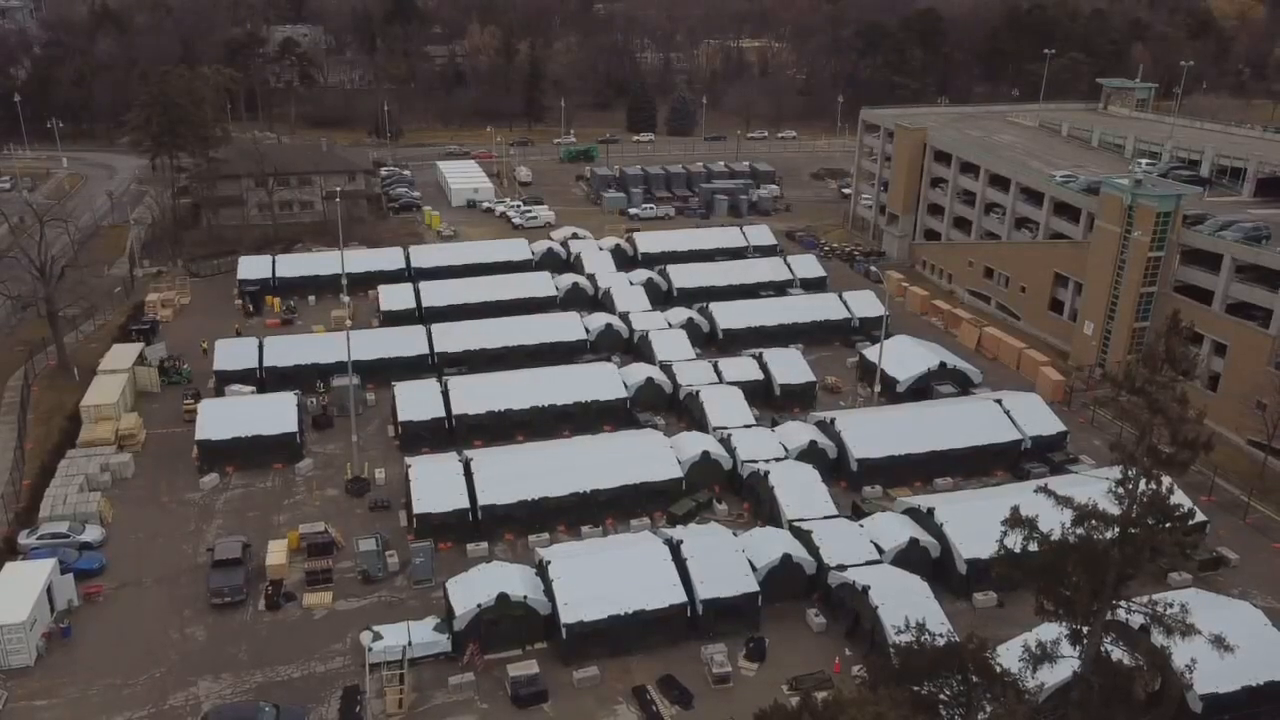 Drone footage - Quarantine camp at Sunnybrook Hospital in Toronto preparation for 'third wave'!