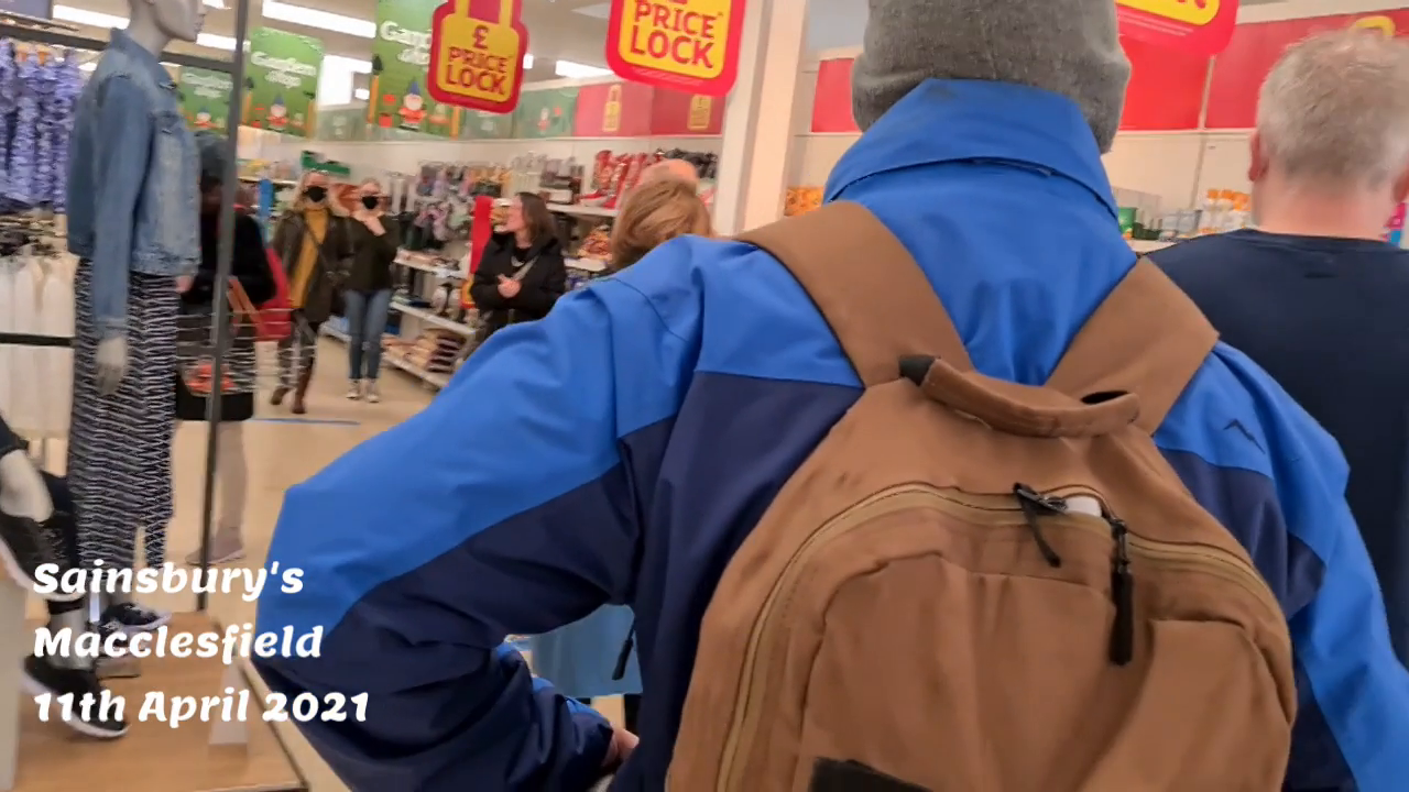 WELL DONE - Maskless shopping with megaphone. When we say no, this all ends. Sainsbury's 11th April 2021 UK