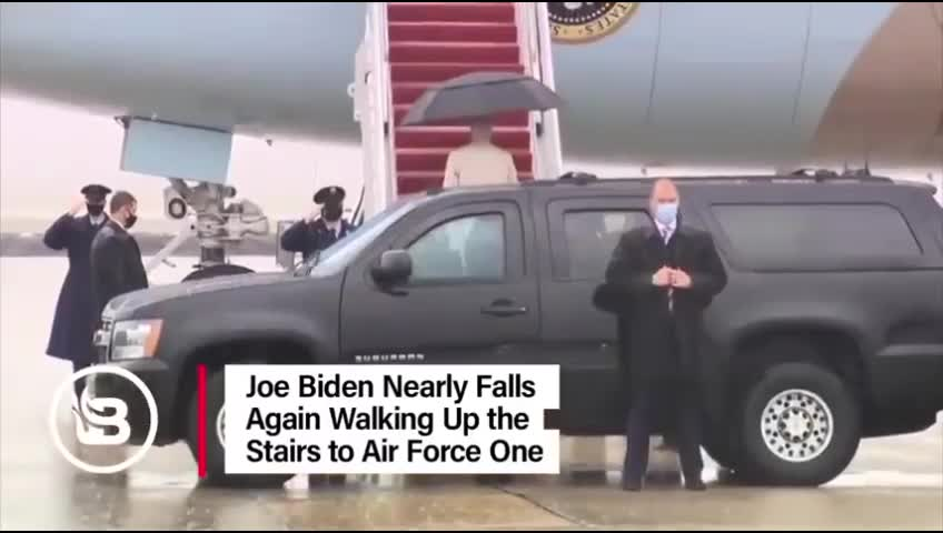 Joe Biden Nearly Falls Again Walking up the Stairs to Air Force One.