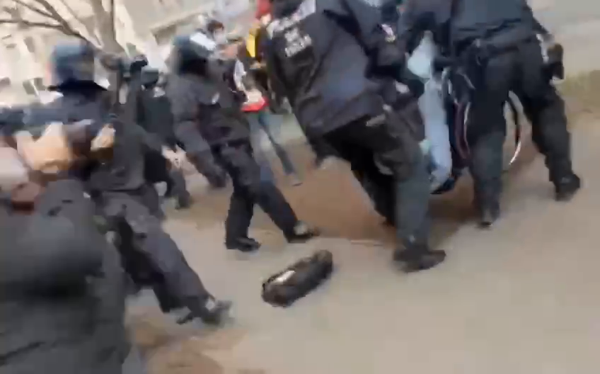 Disabled man arrested during an anti-lockdown protest in Berlin