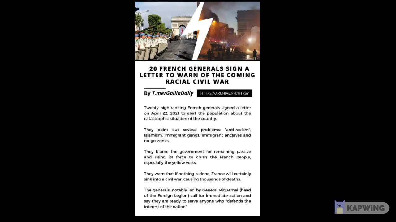 20 french generals sign a letter to warn of the coming racial civil war