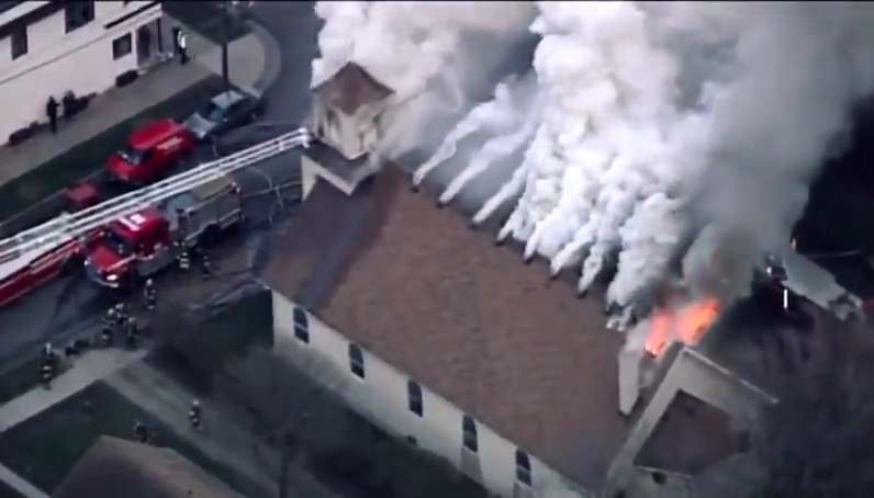 Demos are out burning Churches again! Minneapolis the Sacred Heart of Jesus Church today