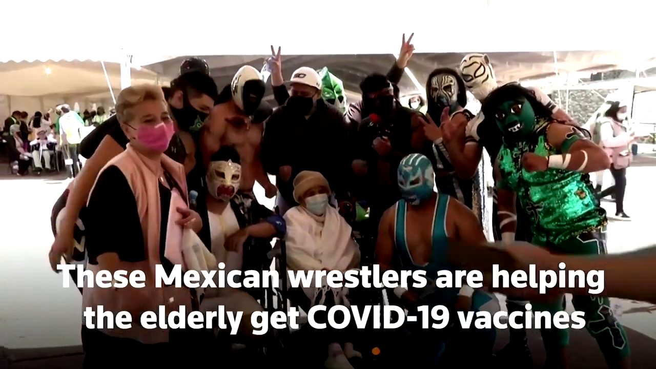 Mexico send the wrestlers to help elderly get the Jab! Same wrestlers were sent to enforce Mask