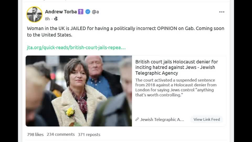 Alison Chabloz jailed for 9 weeks.... for opinions on The Holocaust