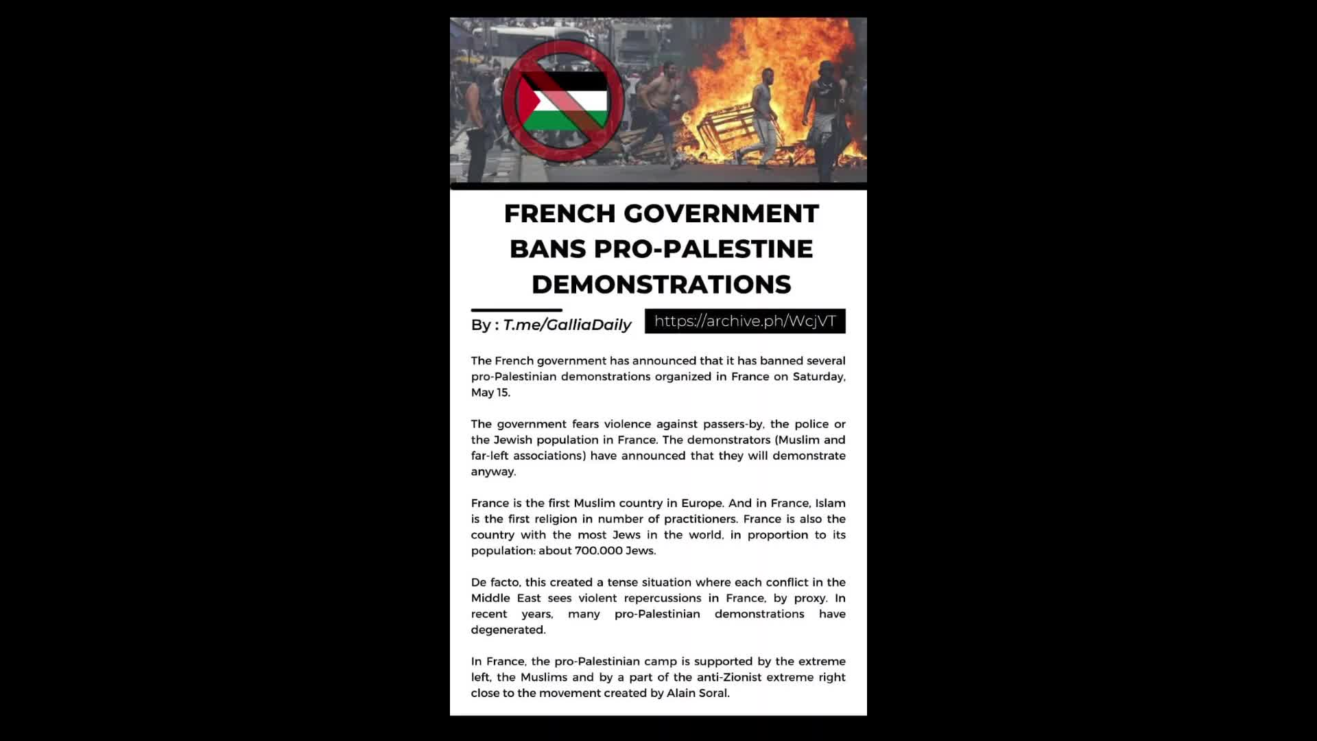 FRENCH GOVERNMENT BANS PRO-PALESTINE DEMONSTRATIONS