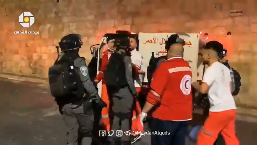 ⁣Israeli pigs rough up and prevent a medical team (apparently from the Red Crescent) from allegedly entering the Al Aqsa Mosque to tend to those injured during the riots in Jerusalem