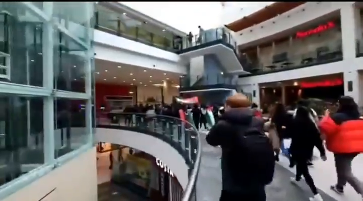 Muslim mob enters Manchester Arndale centre chanting to 'free Palestine', then proceed to attack a man and his terrified partner and children...