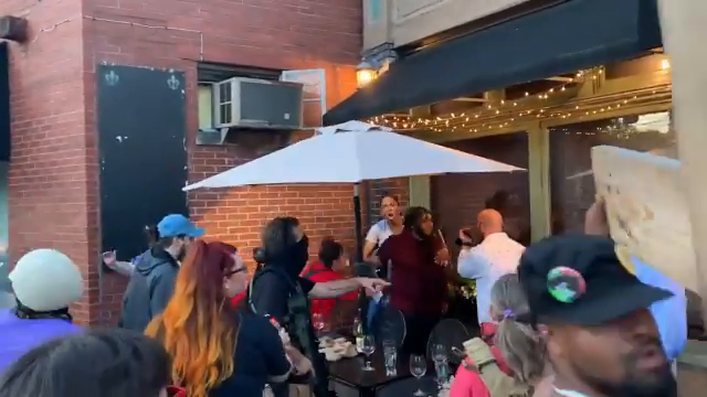 ICYMI / Old man pulls a gun in self defense as a mob of BLM/ANTIFA parasites surround him at a restaurant in Louisville Kentucky.