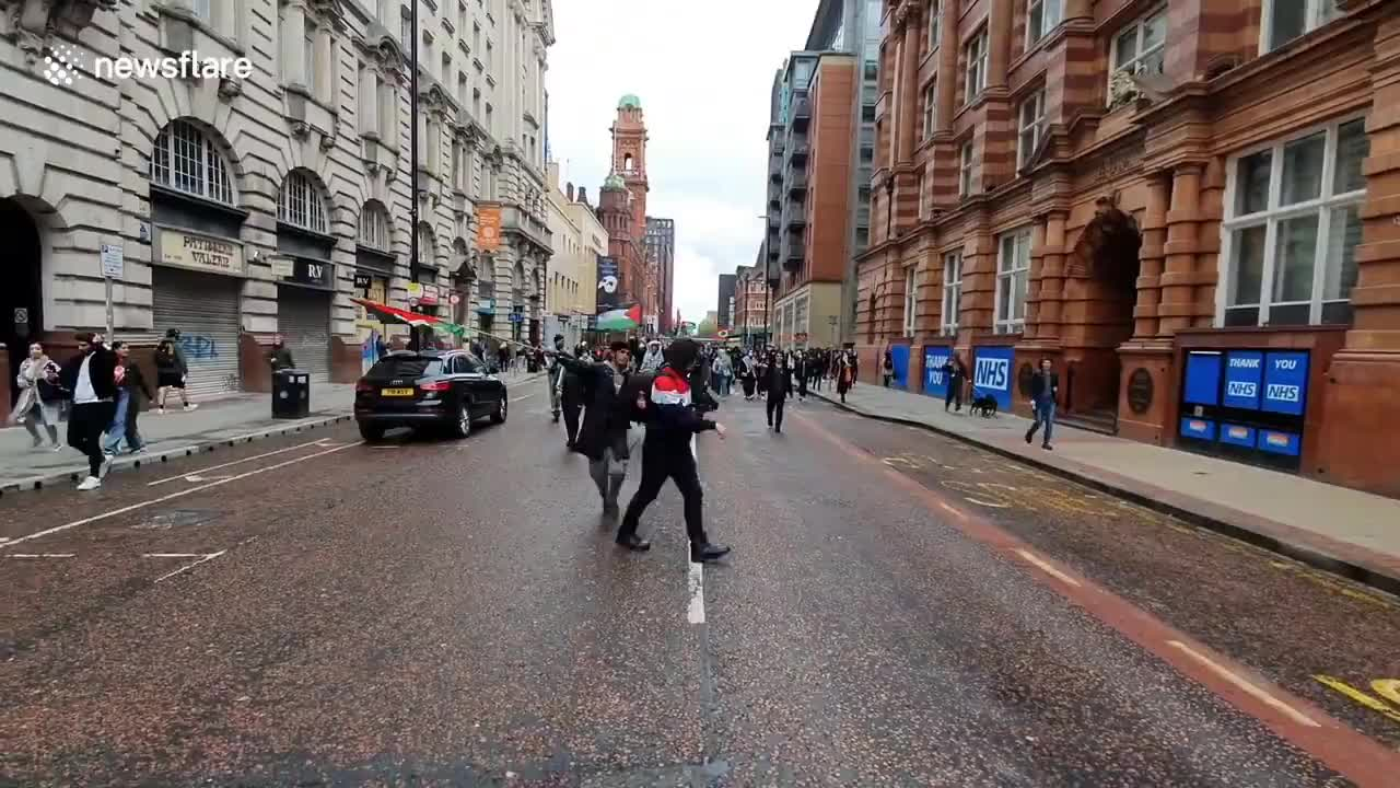 Free Palestine protest turns nasty inside Manchester Arndale shopping centre