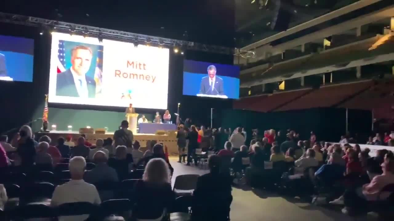 Booing and heckling as Mitt Romney makes an appearance at the GOP convention in Utah.