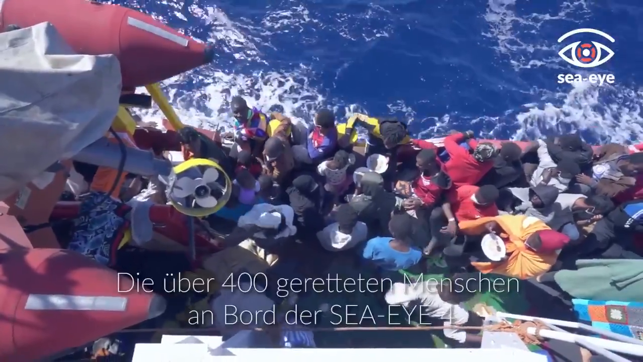 A female spokeswoman for the terrorist NGO Sea-eye, while transporting more than 400 Subsaharans into Europe makes an emotional appeal in another of their propaganda videos: let them all in
