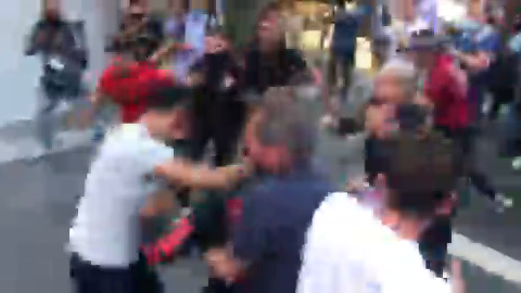 A brawl broke out at the violent pro-Palestine protest in Times Square.
