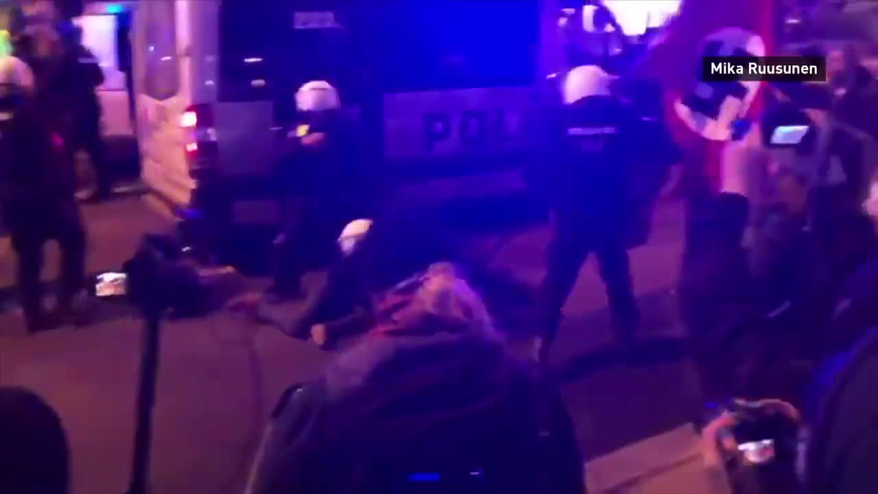 Police confiscate swastika flags during far-right rally on Finnish Independence Day