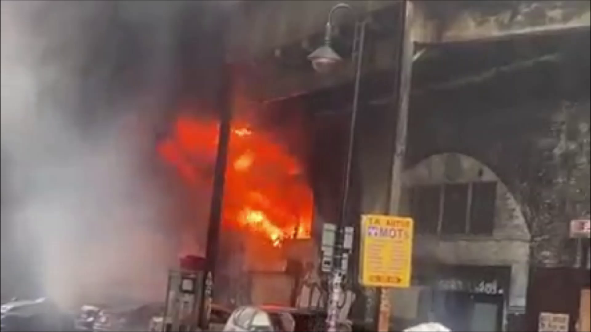 footage of the fire raging at Elephant and Castle, London