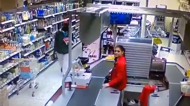 In Finland niggers tried to take products out without paying but the brave Finnish woman did not allow it
