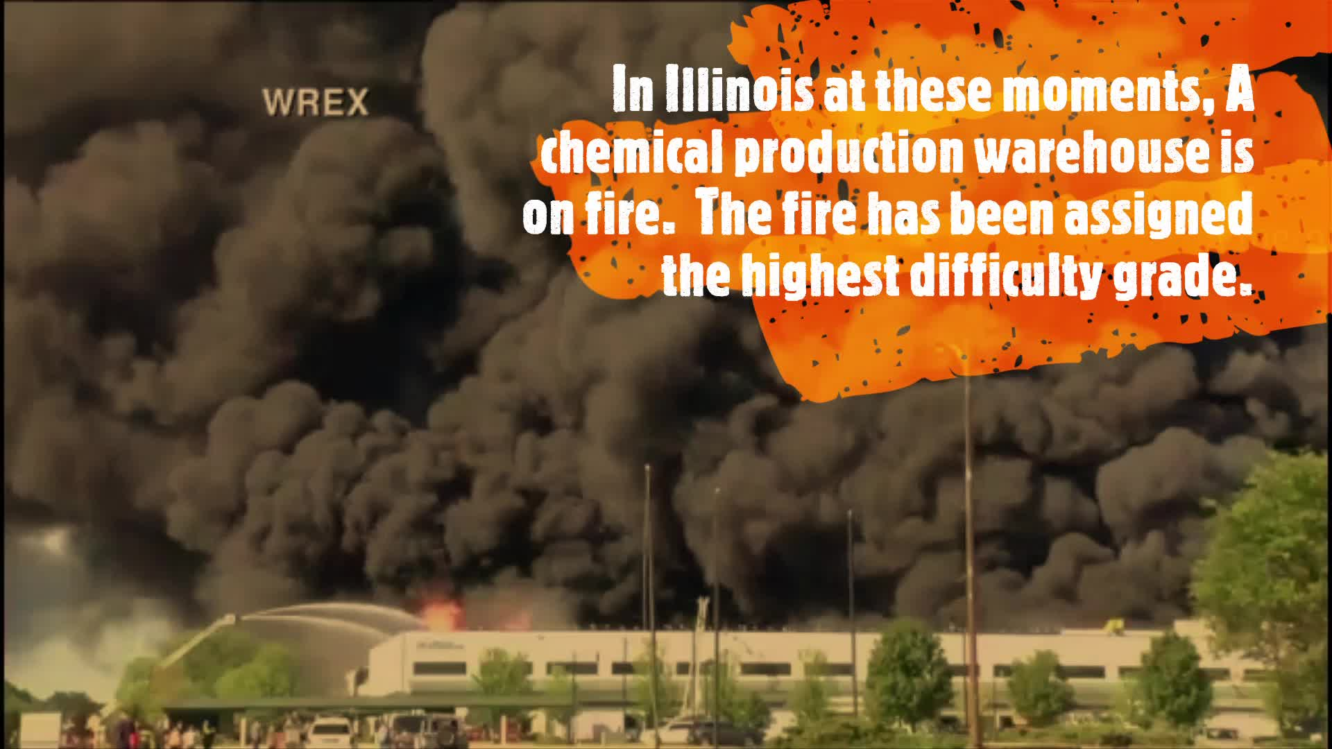 In Illinois at these moments, A chemical production warehouse is on fire