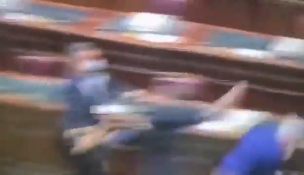 """Bizarre scenes in Italian Parliament as MPs kick off against the country's """"Green Pass"""" vaccine passport"""