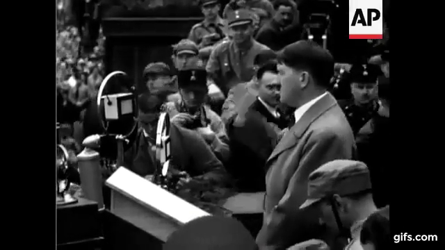 Adolf Hitler Impatiently Gesturing to The Crowd to Be Quiet
