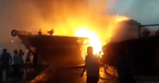 Five Iranian Revolutionary Guards ships were destroyed at port this morning