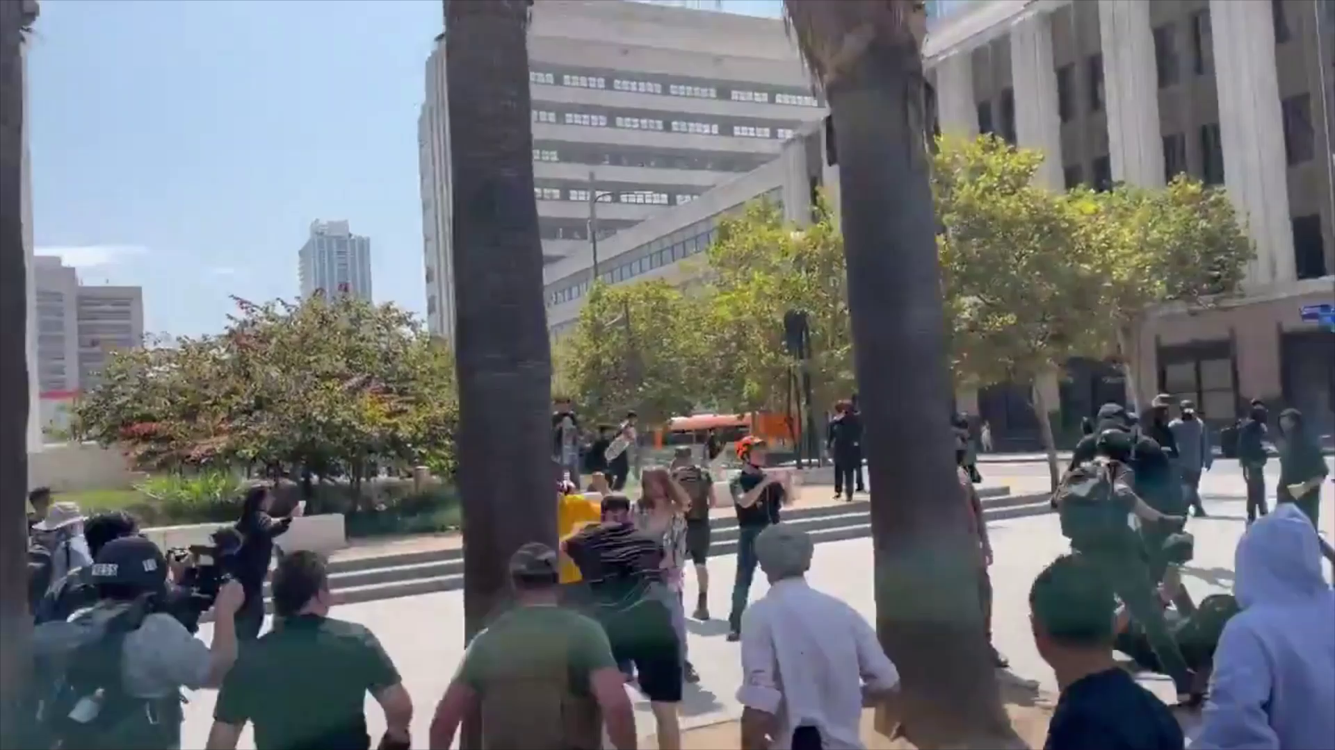 LA, saturday. One person stabbed as COVID anti-vaxxers (MAGA Patriots) and counter demonstrators(ANTIFA Traitors) clash in front of L.A. City Hall.