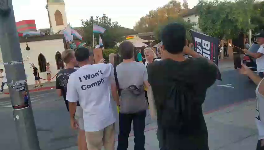 Old transexual yells at people protesting vaccine passports, calls them retarded for not giving up their freedom.