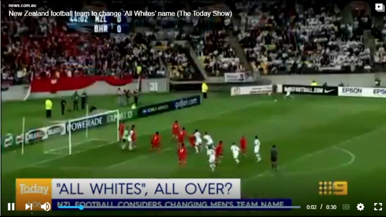 All Whites name change as All Whites is deemed as offensive!!! - New Zealand