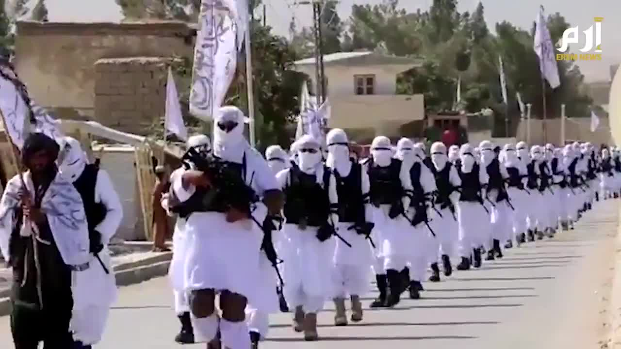 """Taliban """"special forces"""" parade with U.S.-made weapons in Zabul Province, Afghanistan."""