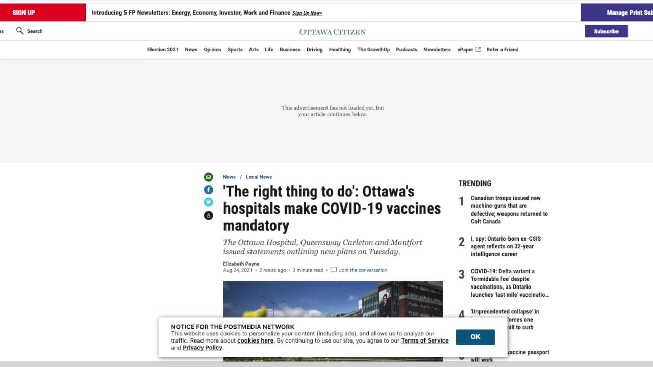 Mandatory Jabbos for Healthcare Workers in Ottawa, Canada's Capital