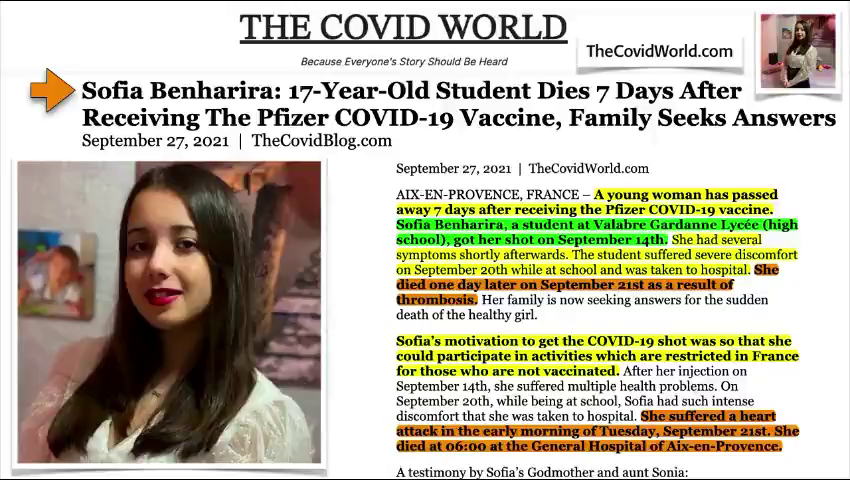 """17 yo French girl  took VAX so she could """"participate in restricted activities"""". Dead."""