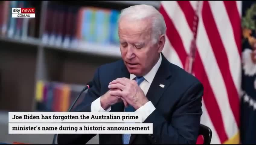 """Biden discusses 3 way alignment with UK but forgets Aussie Prime Minister's name. Wants to ally with us so our soldiers can go off to die for USA's interests but can;t recall his name. Calls him """"pal"""" in a condescending attempt at damage control."""