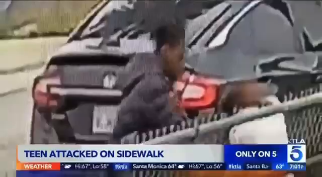 Black parasite brutally beats young White teen girl for trying to mind her own business.